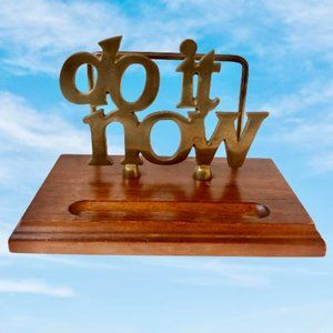 DO IT NOW Brass & Wood Letter Mail Holder Vintage